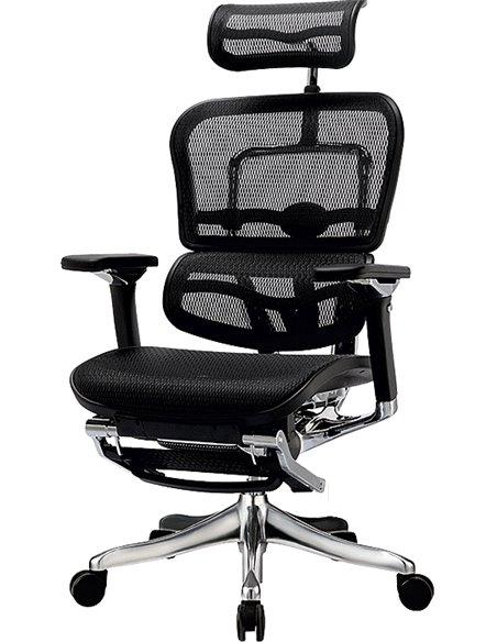 Крісло комп'ютерне ERGOHUMAN PLUS c підставкою для ніг, ергономічне, чорного кольору