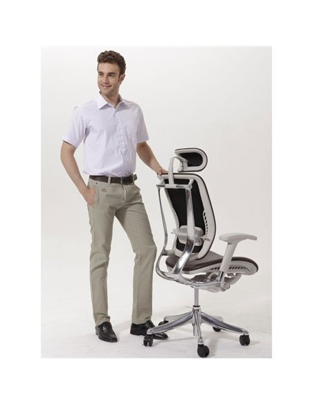 Кресло EXPERT Spring Leather (SPL01-G) для руководителя, эргономичное, черная кожа